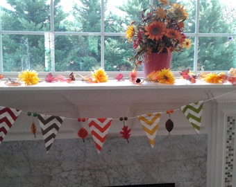 FALL Pennant Banner Seasonal Leaves Harvest Thanksgiving Home Decor Fabric Wood Decoration Hanging Beads Hand Painted FAL2