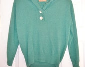 Vintage Cashmere Sweater Green Button Top Scotland Small Pringle of Scotland Lightweight
