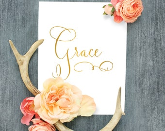 Grace Print in White and Gold INSTANT DOWNLOAD in 3 sizes, 5x7, 8x10 & 11x14