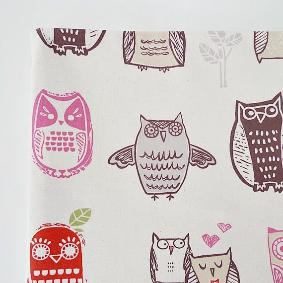 Owl fabric bird fabric cute fabric novelty fabric kids for Cute childrens fabric