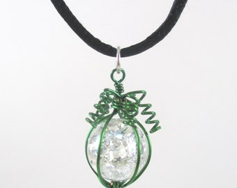 Green Wire Wrapped Fried Marble Pendant Necklace on Black Cord