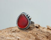 RESERVED - Kauai Vibrant Rare Red Beach Glass Set in 925 Sterling Silver Handcrafted Ring - Size 6.5