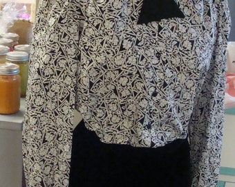 judy bond 1980's CAREER BLOUSE black and white peter pan collar M