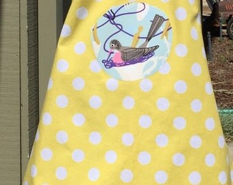 Childrens Apron with polka dots and birds