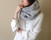 Chunky Crochet Cowl Knit Neckwarmer, Circle Scarf   Marble Grey   Wool Yarn