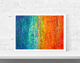 Turquoise & Orange Abstract Wall Art Print - 'Fiesta' - Orange and Blue Impressionist Art Print - Modern Abstract Art Print by Louise Mead