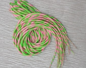 Pink Green Double Ended Candy Cane Dreads 22 inches Long Pack of 10