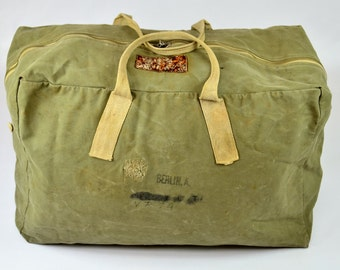 WW2 Aviator Duffle w/ Jerky Tag 1940s USN Air Force Canvas Duffle USAF Flight Kit Helmet Bag RARE