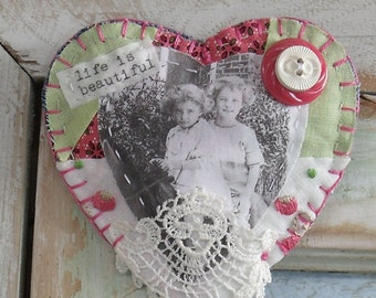 Handmade Heart Brooch/Pin Ornament, Inspirational, fiber art, vintage buttons, vintage quilt scraps, vintage hankie , life is beautiful