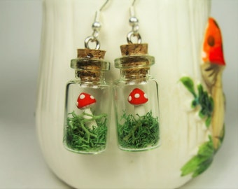Red Toadstool Mushroom Tiny Green Moss Terrarium in a Bottle Earrings - Whimsical Woodland Fairy Tale