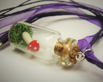 Red Toadstool Mushroom Tiny Green Moss Terrarium in a Bottle Necklace - Whimsical Woodland Fairy Tale