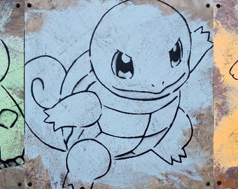 Poke'mon Stencil Art - Bulbasaur, Squirtle, Charmander on 12x12 Inch Wood-Mounted Vinyl