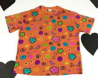 90s United Colors of Benetton Orange Swirl Floral Heart Doodle T Shirt / Cherries / Pop Art / Graffiti / Clarissa / Medium / Eyeballs
