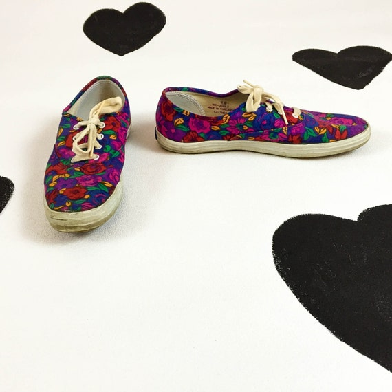 90s bright floral keds tennis shoes sneakers size 9 pink