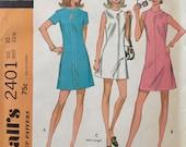 """Vintage 1970 McCall's Misses' Dress Pattern 2401 Size 10 (32 1/2"""" Bust) UNCUT"""