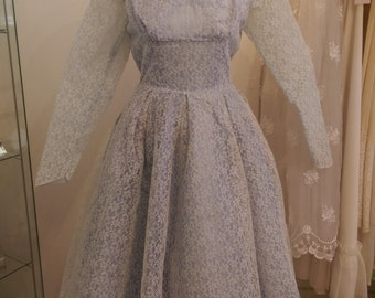 Ada - 1950's True Vintage Wedding Gown in Powder Blue and Ivory Lace with Sleeves