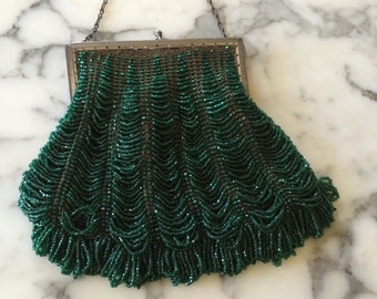 Vintage Flapper Style Emerald Green Beaded Purse