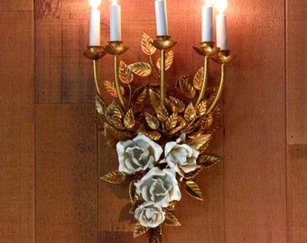 Vintage Chandelier Antique Chandelier Wall Chandelier Sconce Gilt Italian Design 5-Lights a real Beauty!