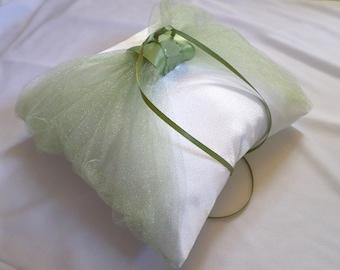 Elegant Sage and White Satin Ring Pillow