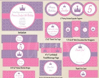 Princess Party Printables - Princess Birthday Party - Princess Party Decor - Purple and Pink Party Printables