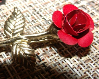 Red Rose Brooch, Gold metal stem with red rose, single red rose, Love jewelry.....