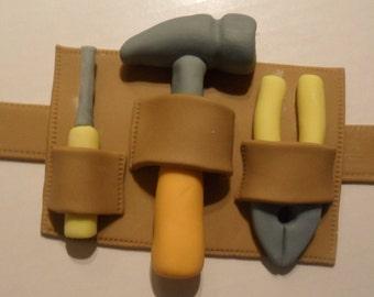 Fondant Construction Tool Belt Cake Topper