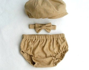 Newsie Outfit, Driving Cap, Bow Tie, Shorties, Khaki Houndstooth, Vintage Style Boys Clothes, Vintage Boy Prop, Baby Boy, Boy Outfit
