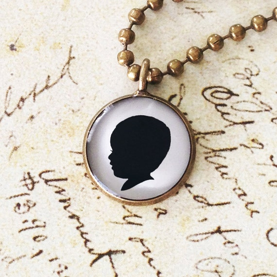1 Medium Custom Child or Pet Silhouette Antiqued Brass Pendant Necklace for Mother or Grandmother