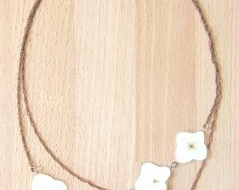 Pressed Flower Jewelry - White Hydrangea Pressed Flower Petal Necklace