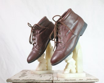 80's Bourbon Brown Leather Lace Up Ankle Boots Sz 7