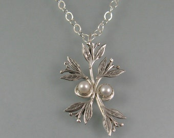 Leaf pendant necklace - sterling silver pearl pendant - woodland necklace - elven jewelry - nature jewelry - pearl jewelry - June birthstone