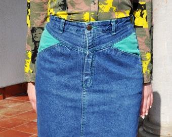 Vintage 80s Denim Pencil Skirt