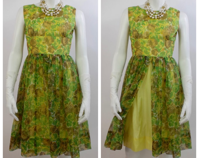 1960's Floral Organza and Taffeta Summer Dress - Wiggle Dress - Mad Men -  Cabbage Roses - 60's Spring Dress - Yellow and Green -  Size 6