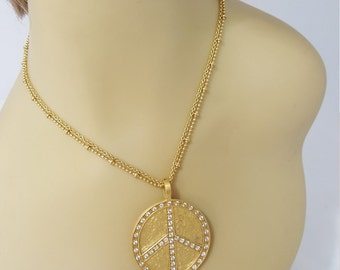 Shiela Fajl Glow Necklace Peace Sign Jewelry Boho Jewelry Boho Necklace Medallion Necklace Large Pendant Necklace  Jewelry For Girls