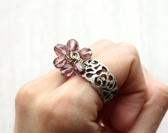 Exotic Ring // Oriental Rings // Arabesque Ring // Romantic Rings // Floral Ring Band // Flower Ring Silver // One of a Kind Rings
