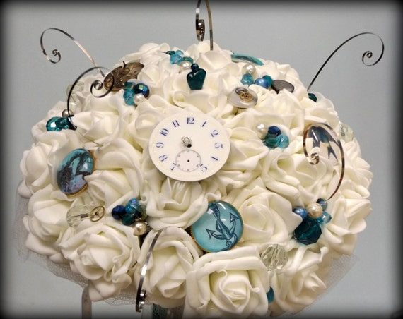 Ocean Steampunk Bouquet and Buttonhole Ivory rose and ocean blues