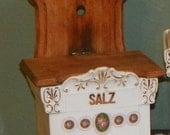 Antique German Canister SALT BOX salz Holder Porcelain