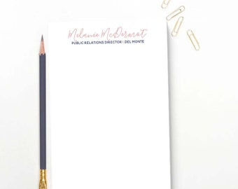 Professional Personalized Notepad with Name and Title -- Custom Stationery