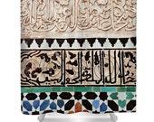 Moroccan Shower Curtain, Bohemian Home Decor, Bathroom Decor, Morocco, Pattern, Travel Photo, Ethnic, Mosaic Tiles, Islamic Art, Ethnic
