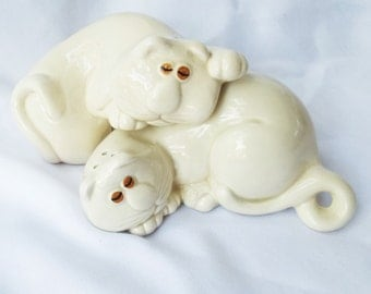 Vintage Fitz & Floyd Cat Salt and Pepper Shakers
