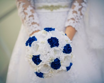 Brooch Bouquet. Blue White peony Fabric Bouquet, Unique Wedding Bridal Bouquet