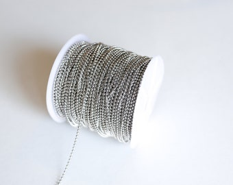 330ft Antique Silver Ball Chain Chain Spool - 2mm - 100m - Ships IMMEDIATELY from California - CH649