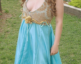 PRICE REDUCED Margaery Tyrell Blue and Gold 2 Piece Dress - Ready to Ship!