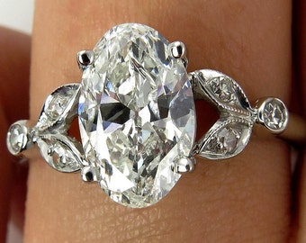 Vintage 2ct OVAL Cut Diamond Engagement Wedding Ring in Platinum