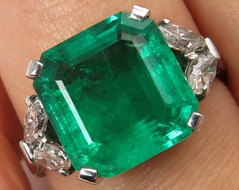 GIA Colombian 5.18ct Vintage Estate Green Emerald and Diamond Engagement Ring