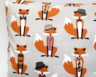 Grey fox cushion fox pillow woodland cushion woodland pillow kids cushion kids pillow boys girls gray cushion childrens cushion hipster