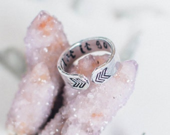 Let it go secret message quote ring, chevron ring, yoga ring, customizable personalized inspirational gift, RTS RA017