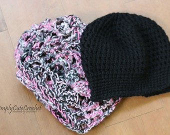 Hat and scarf set,  crochet cowl, crochet scarf, infinity scarf, crochet hat, pink and black, fall fashion, ready to ship