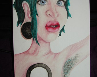 BODYMOD - Original Painting - Stretched Ears - Piercings - Punk - Watercolour - Green Hair