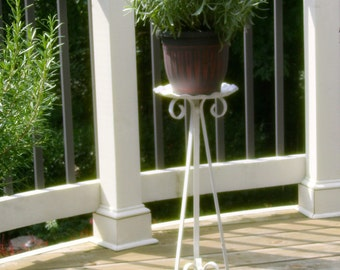 Vintage Shabby White Wrought Iron Plant Stand Mid Century Scroll Fluted Bowl Pillar Candle Holder Candelabra